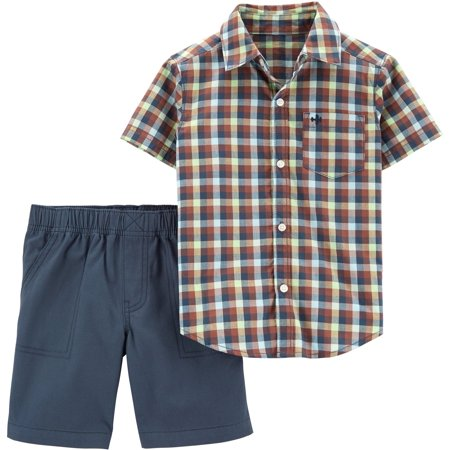 Carters Baby Boys Check Plaid Button Down Shorts Set