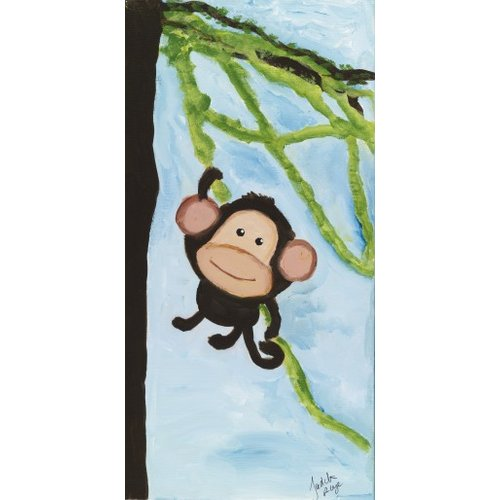 Judith Raye Paintings LLC One Swinging Monkey by Judith Raye Painting Print