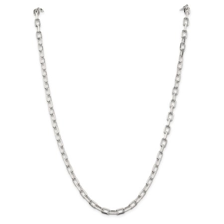 Sterling Silver 5.5mm Fancy Diamond-cut Open Link Cable Chain