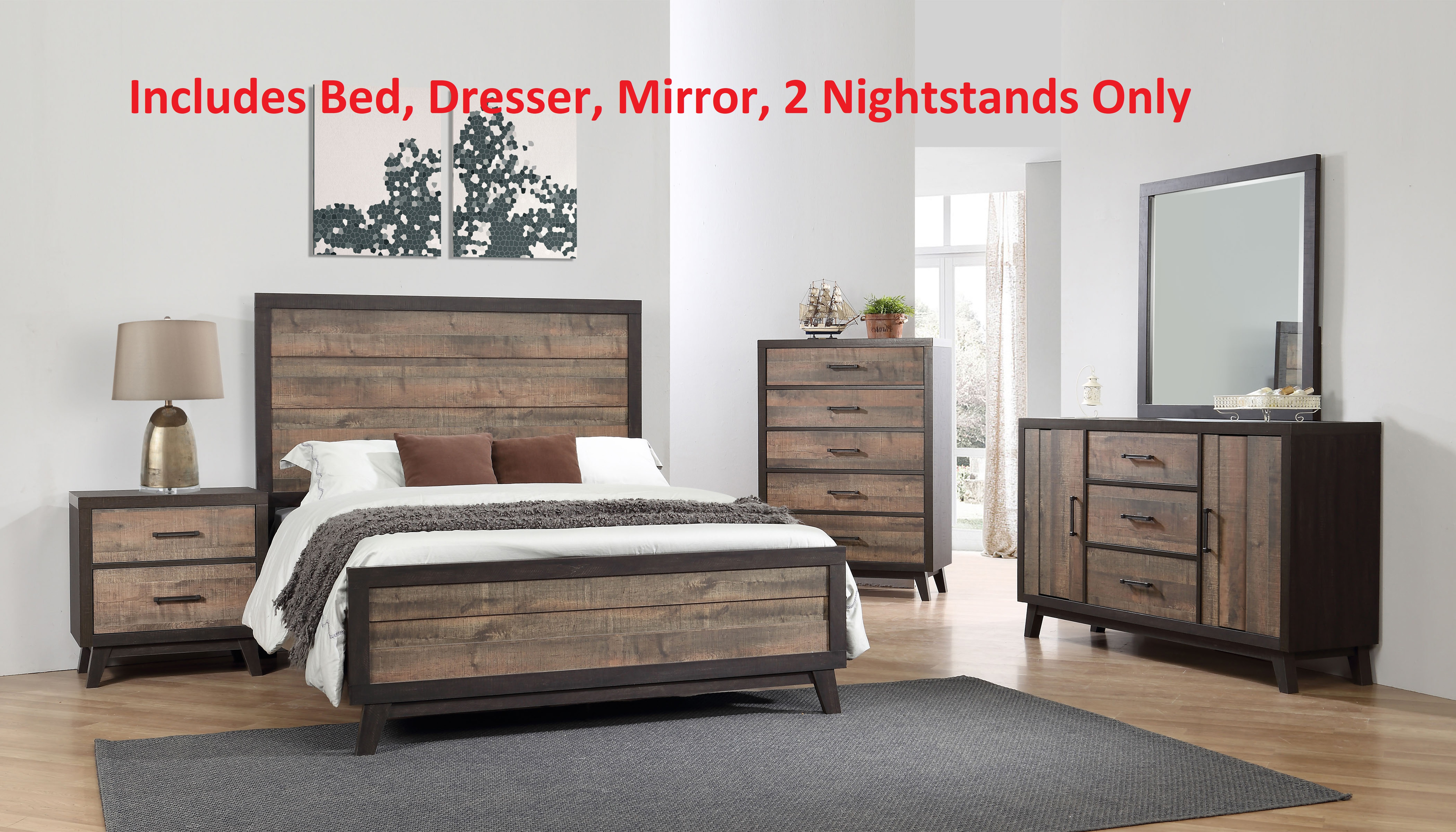 Calista 5 Piece King Size Rustic Mahogany With Solid Wood Dark Ebony Frame  Panel Bedroom Set (Bed, Dresser U0026 Mirror, 2 Nightstands)   Walmart.com
