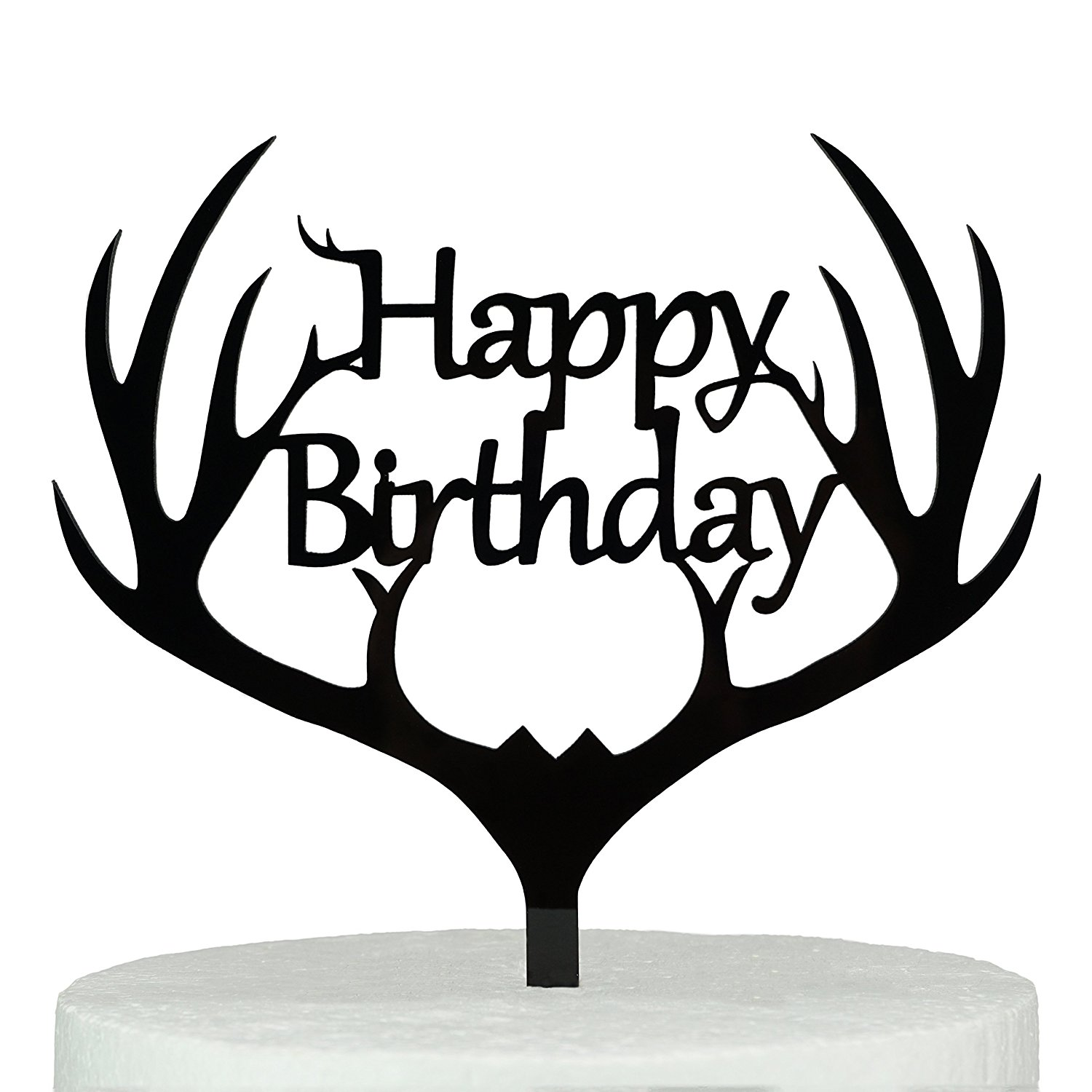 with Gift Box Happy Birthday Monogram Acrylic Cake Topper (5.7-inch, Black)