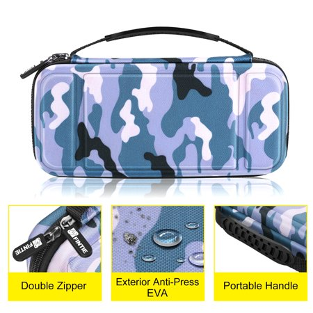 Fintie Carrying Case for Nintendo Switch - Shockproof Hard Protective Cover Travel Bag w/ 10 Game Card Slots, Camo Blue - image 5 of 7