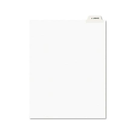 Avery-Style Preprinted Legal Bottom Tab Divider, Exhibit F, Letter, White, 25/PK
