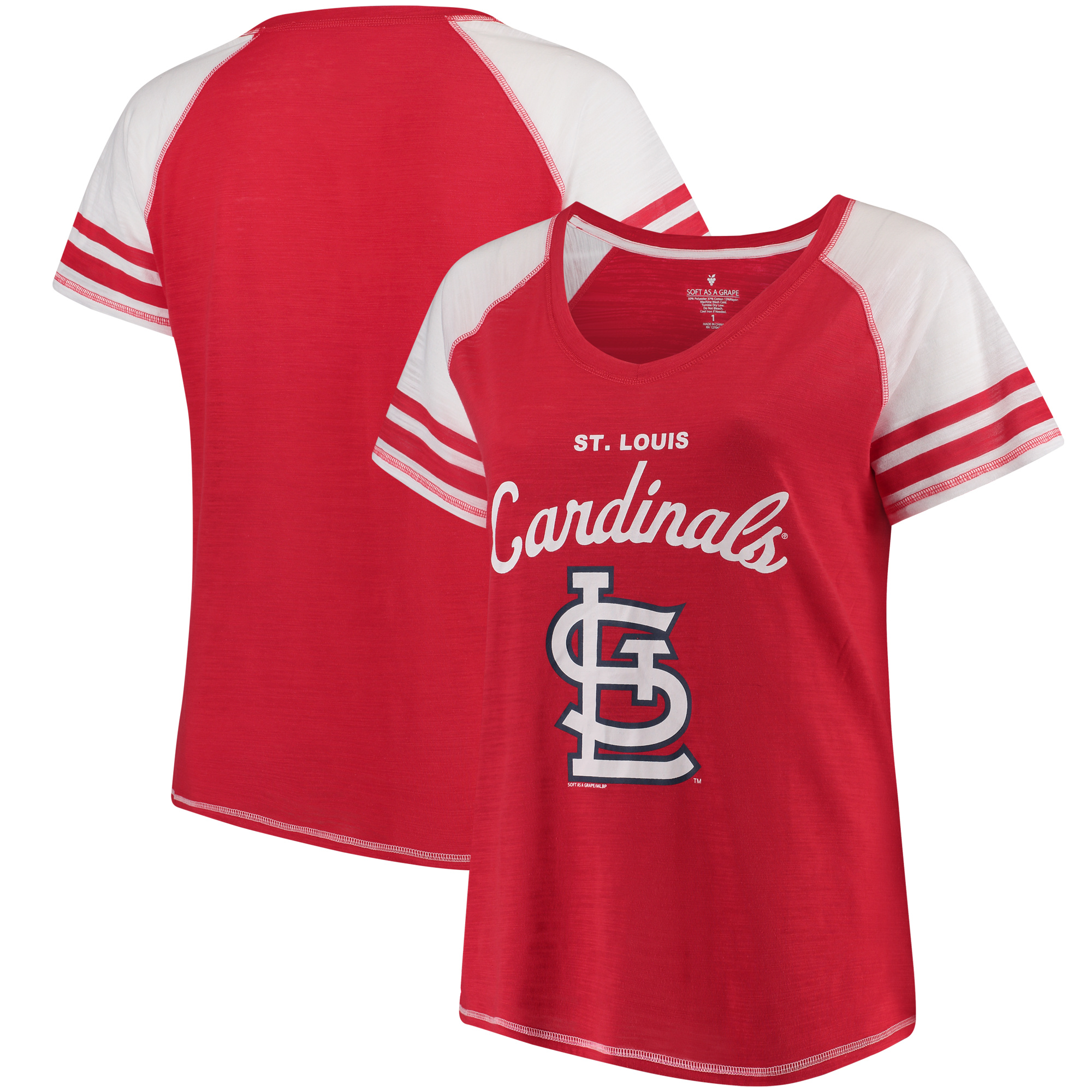 St. Louis Cardinals Soft as a Grape Women's Plus Sizes Three Out Color Blocked Raglan Sleeve T-Shirt - Red