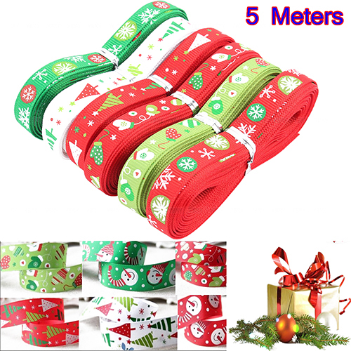 Girl12Queen 5 Meters 10mm Christmas Tree Snowfake Pattern Packing Ribbon Xmas Decor
