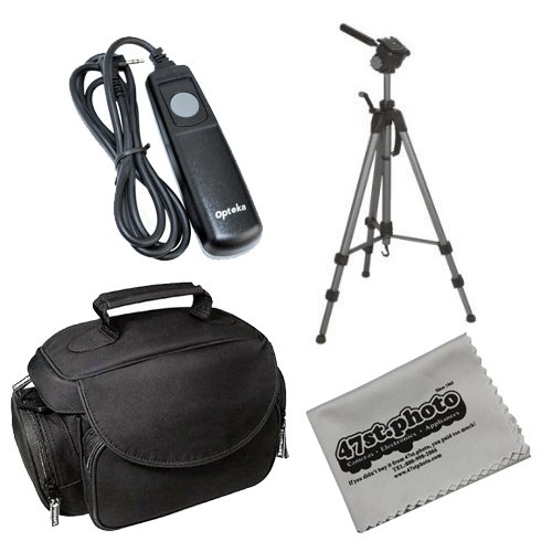 "Starter Kit with Opteka OPT-7000 70"" Professional Tripod, Microfiber Deluxe Gadget Bag, Remote Shutter Relase Cord and Microfiber Cleaning Cloth for Olympus E-1 E-3 E-5 E-10 E-20 E-100RS E-300 C-8080"
