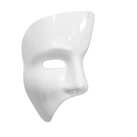 Club Pack of 24 Shiny White Phantom Mask Halloween Costume Accessories](Central Halloween)