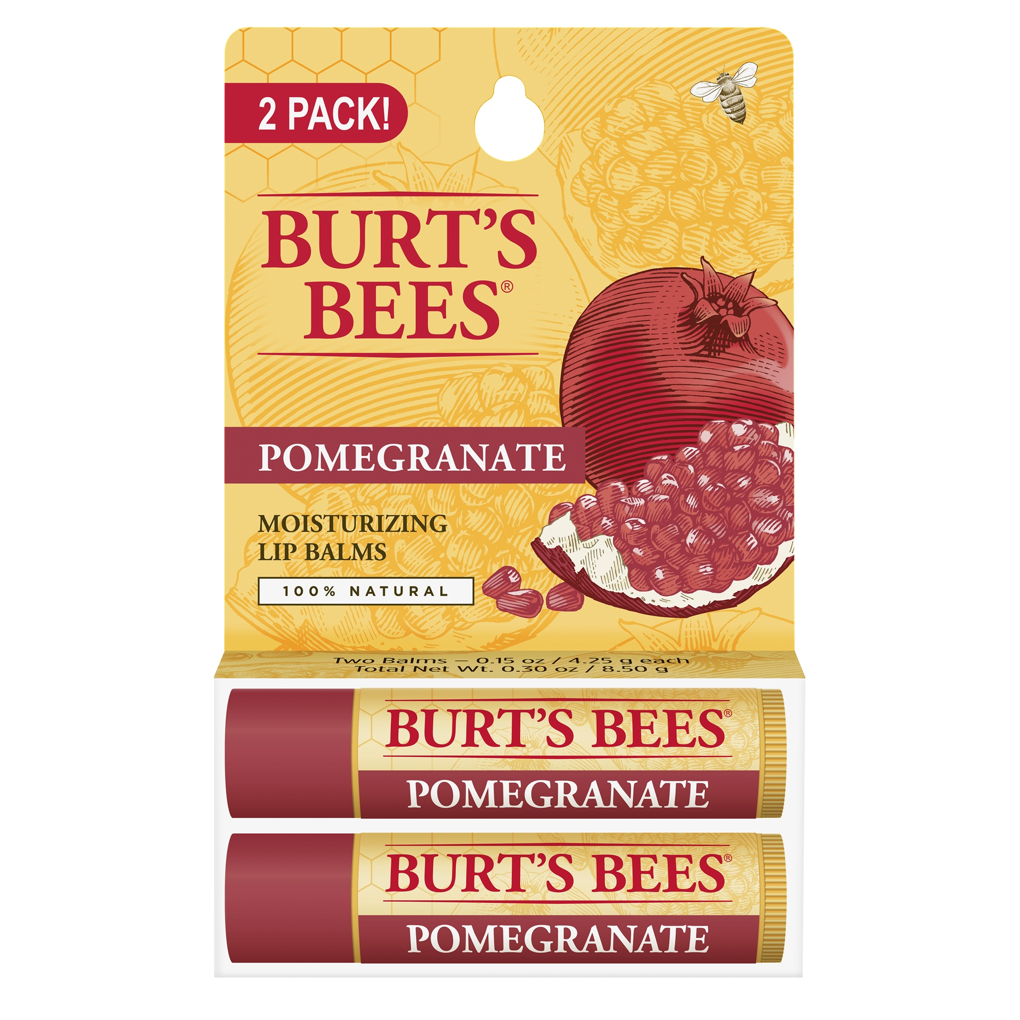 Burt's Bees 100% Natural Moisturizing Lip Balm, Pomegranate, 2 Tubes in Blister Box