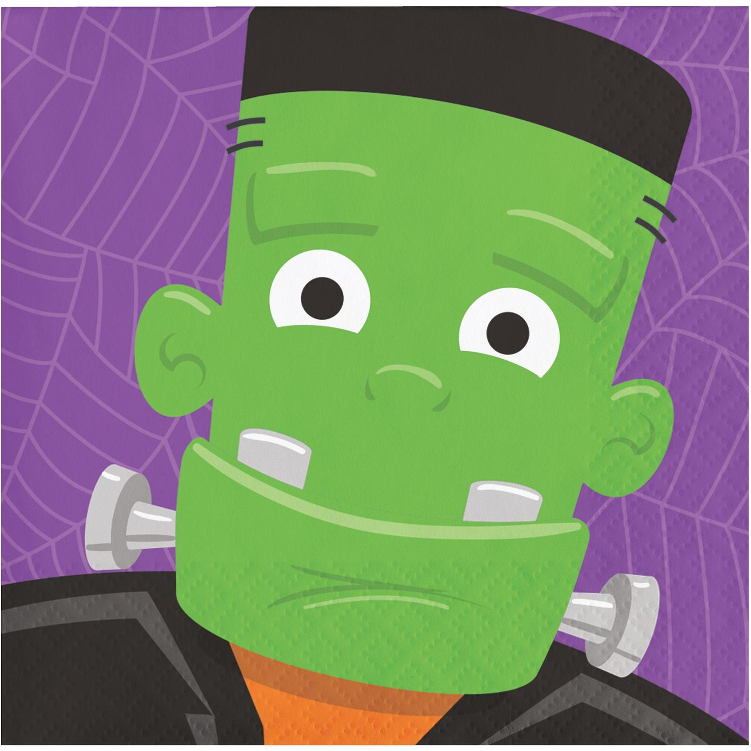 """Pack of 192 Purple and Green Halloween Disposable Party Beverage Napkins 5"""""""