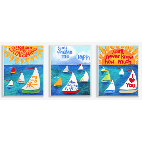 Stupell Industries The Kids Room You Are My Sunshine and Sailboats Triptych 3 Piece Painting Print Wall Plaque Set
