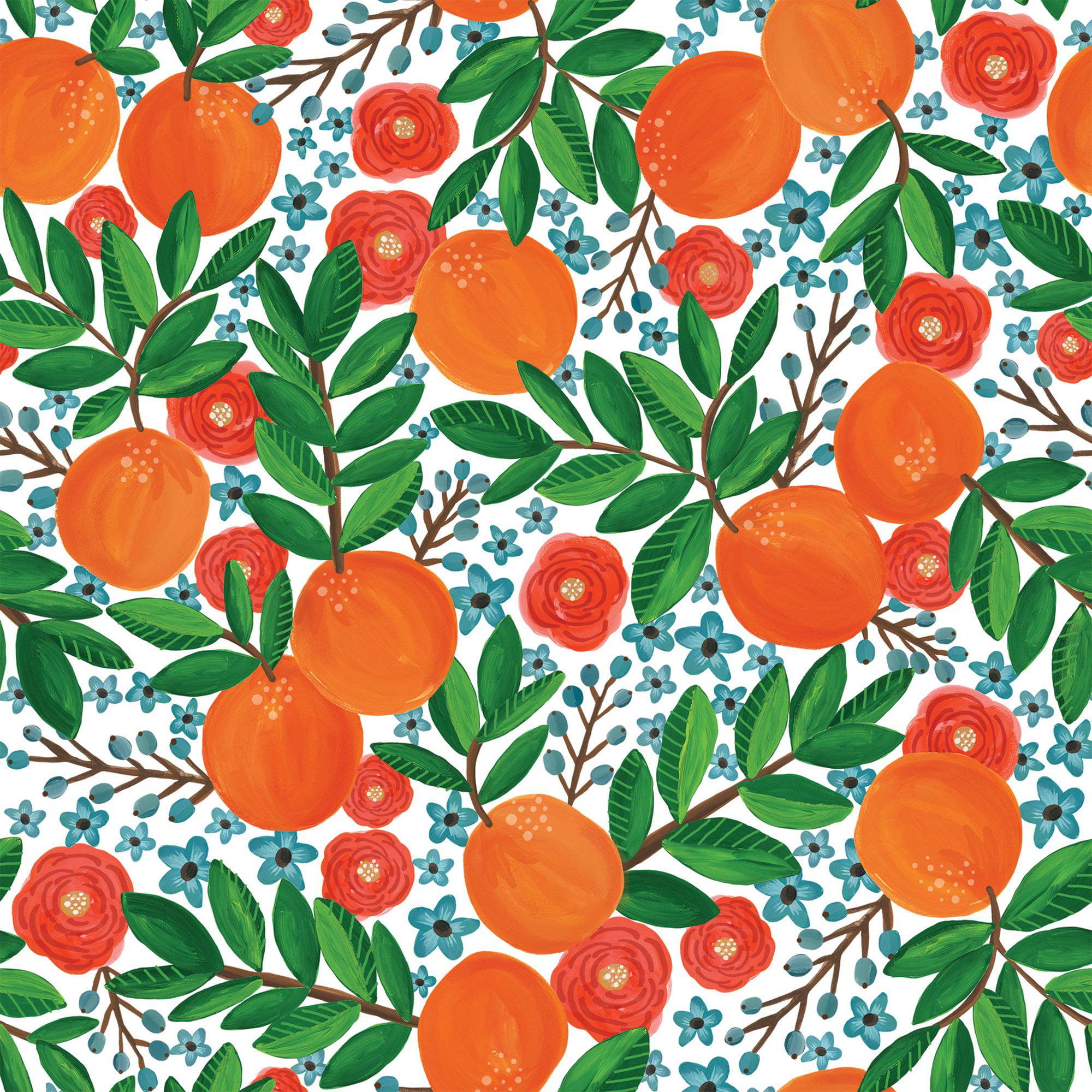 "Jillson & Roberts Bulk Gift Wrap, Mandarin Grove, 1/4 Ream 208' x 24"""