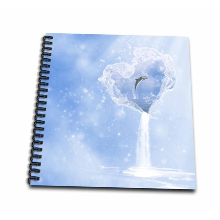 3dRose Heart ocean waterfall dolphin blue fantasy - Drawing Book, 8 by (Dolphin Waterfall)