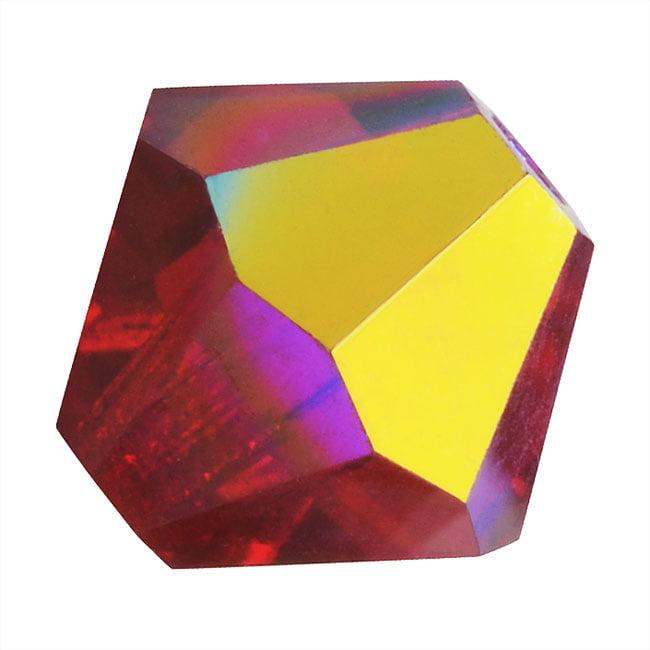 "Preciosa Czech Crystal Bicones Glass Beads 4mm ""Siam AB"" (50)"