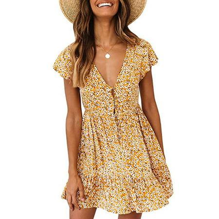 Womens Boho Floral Print Dress Button Down Deep V Neck Ruffle Beach Mini Dresses