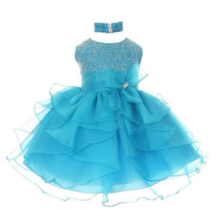 Baby Girls Turquoise Organza Rhine studs Bow Flower Girl Dress 24M](Turquoise Girls Dresses)