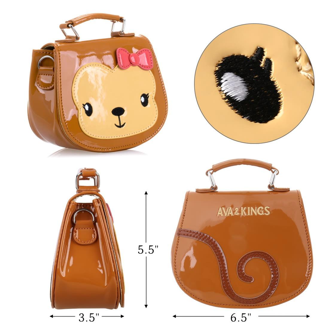 6fb58a4bffbe Ava   Kings - Ava   Kings Girls Purse Glossy PU Leather Animal Handbags  w Adjustable Strap - Walmart.com