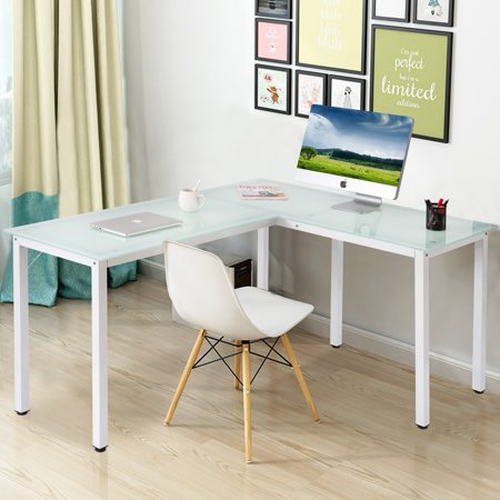 modernluxe l shaped glass computer desk multiple colors. Black Bedroom Furniture Sets. Home Design Ideas