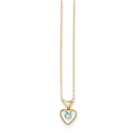 14k Yellow Gold Madi K 3mm Blue Zircon Heart Birthstone Necklace