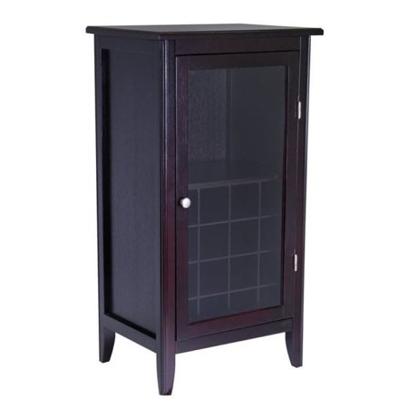 Bowery Hill Wine Cabinet With Glass Door In Espresso Walmart