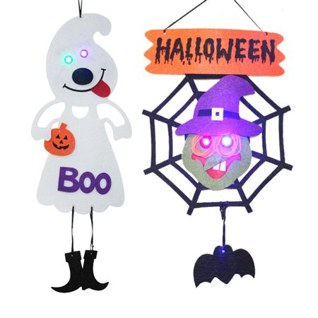 2PCS Halloween Shining Hanging Tag Witch Pumpkin Bat Ghost Spider Web Decoration for Home Door Window Bar Shopping Malls Company Party