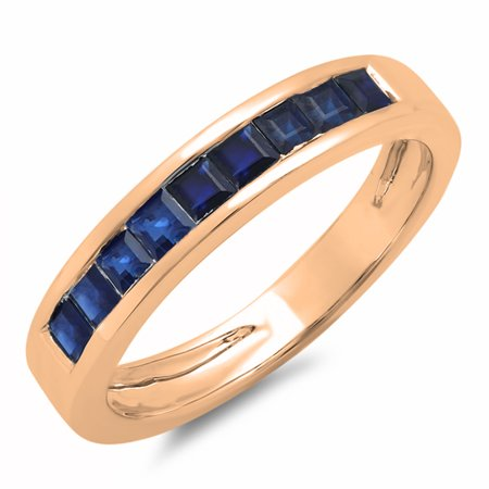 - 0.75 Carat (ctw) 14K Rose Gold Princess Cut Blue Sapphire Ladies Anniversary Wedding Band Stackable Ring 3/4 CT