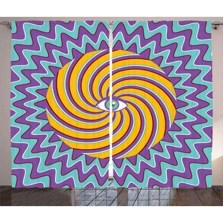 Vintage Decor Curtains 2 Panels Set, Third Eye Symbol inside Hypnotic Spiral Circles Trippy Lines Mystic Hippie Boho, Window Drapes for Living Room Bedroom, 108W X 84L Inches, Multi, by Ambesonne Two Thirds Circle