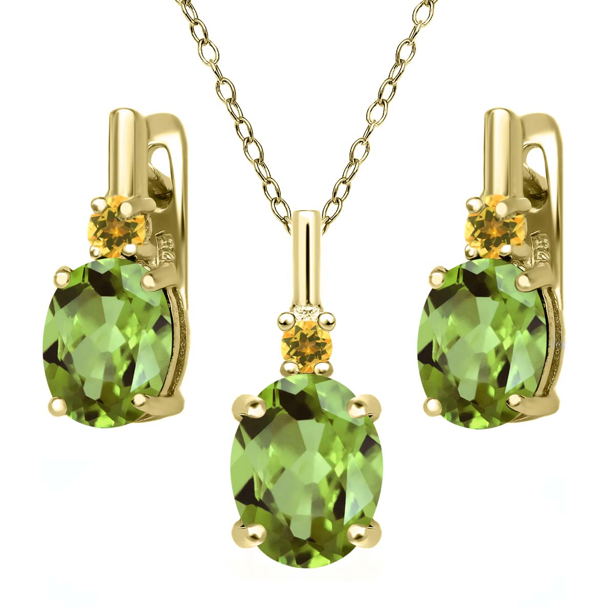 Peridot and Simulated Citrine 18K Yellow Gold Plated Silver Pendant Earrings Set by