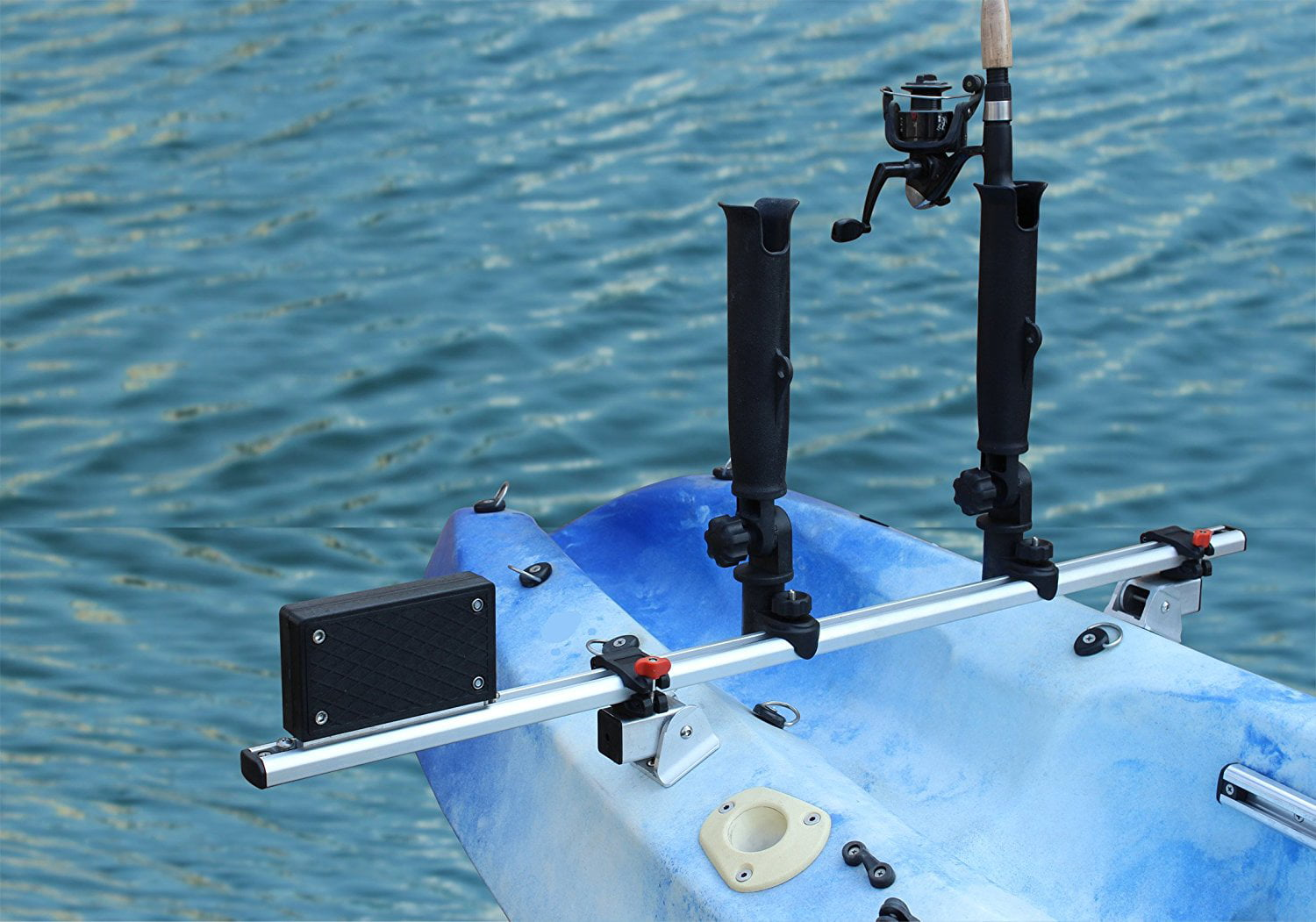 BroCraft Kayak Trolling Motor Mount Universal + two Rocket Launcher rod holder by