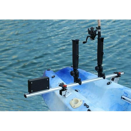 Kayak Trolling Motor Mount - BroCraft Kayak Trolling Motor Mount Universal + two Rocket Launcher rod holder / kayak outboard motor bracket