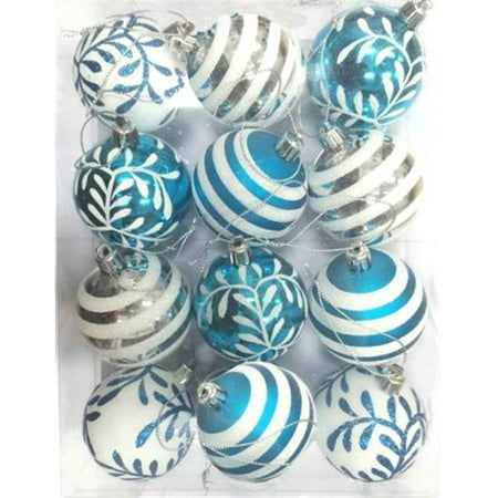 Queens of Christmas WL-ORN-12PK-SFLN-AQ Aqua & White Ball Ornament with Snowflake Line Glitter Design