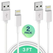 iPhone Charger Lightning Cable Set, Infinite Power, MFI Certified 2 Pack 3FT USB Cable, For Apple iPhone Xs/Xs Max/XR/X/8/8 Plus/7/7 Plus/6S/6S Plus/Air/Mini/iPod Touch/Case, Charging & Syncing Cord