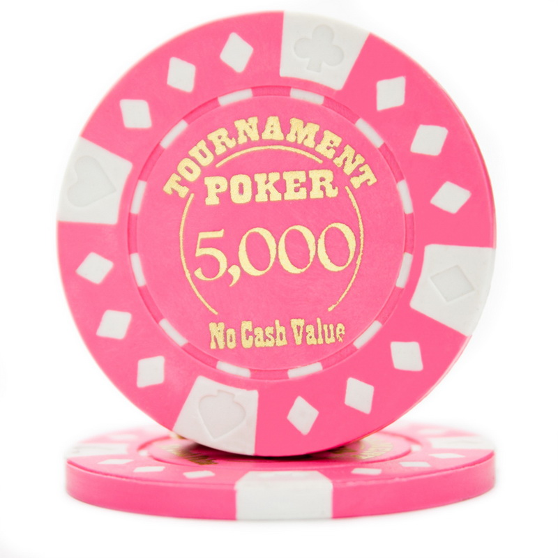 """""""Roll of 25 Pink Tournament Hot Stamp Poker Chips 12.5g"""" by BryBelly"""