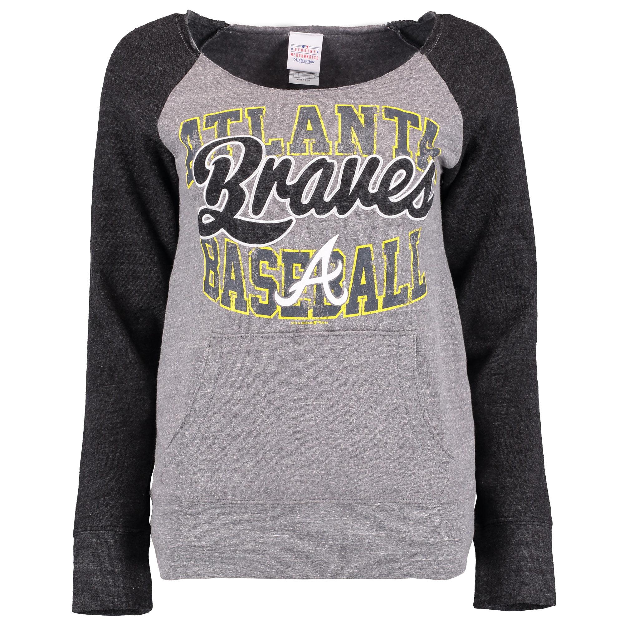 Atlanta Braves 5th & Ocean by New Era Women's Neon Tri-Blend Sweatshirt - Heather Grey