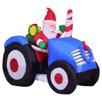 Product Image Costway 6' Indoor/Outdoor Inflatable Santa on Truck Christmas Holiday Decoration Setting