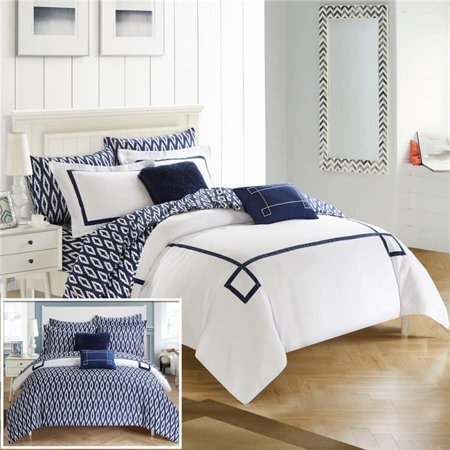 Chic Home CS3105-US Sandrine Contemporary Greek Key Embroidered Reversible X-Long Bed in a Bag Comforter Set with Sheets - Navy - Twin - 7 Piece
