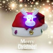 Christmas LED Light Hat Cartoon Santa Claus/Elk/Snowman Xmas Cap for Adult Kids (Kids Deer)