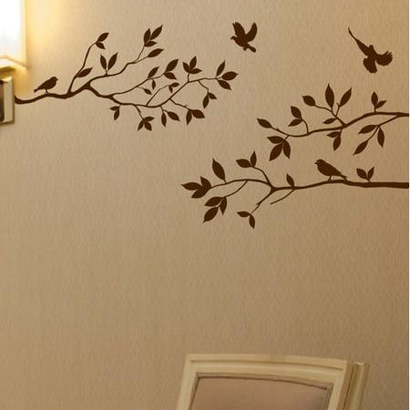 Innovative Stencils Tree Branches with Birds Wall Decal (Bird Window Strike Decals)