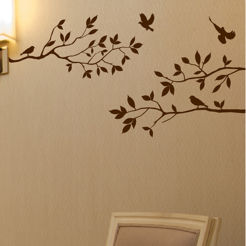 Innovative Stencils Tree Branches with Birds Wall Decal