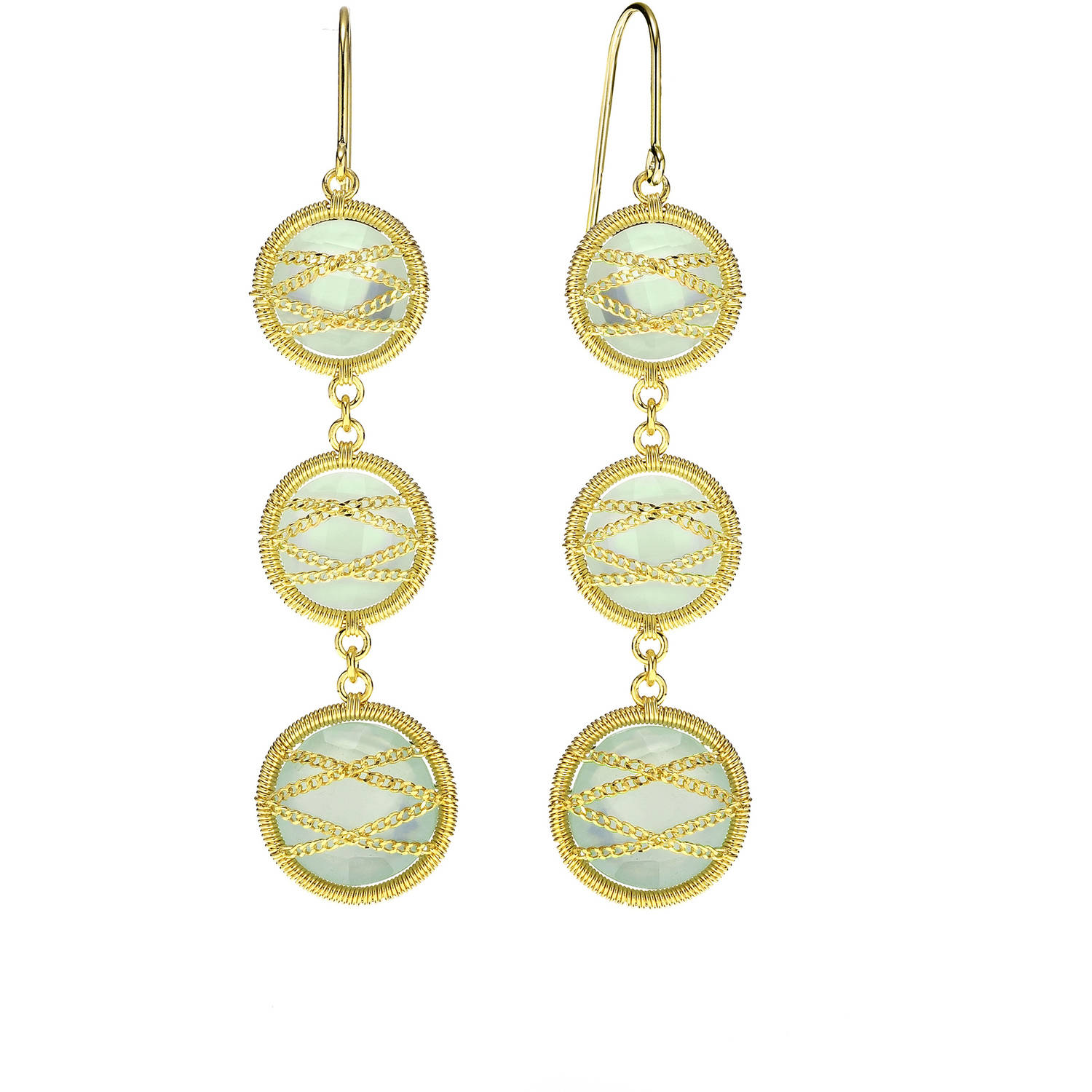 Image of 5th & Main 18kt Gold over Sterling Silver Hand-Wrapped Triple Round Chalcedony Stone Earrings