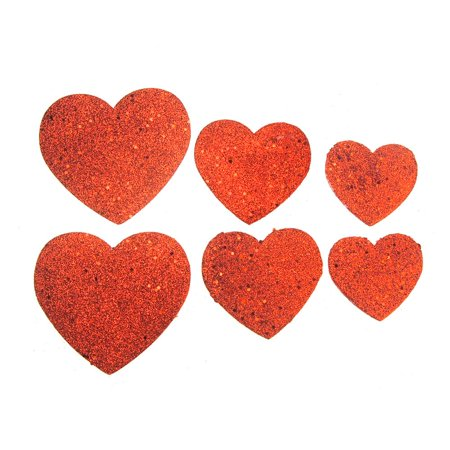 Christmas Styrofoam Heart Cut Out Red Glitter, 6 Count