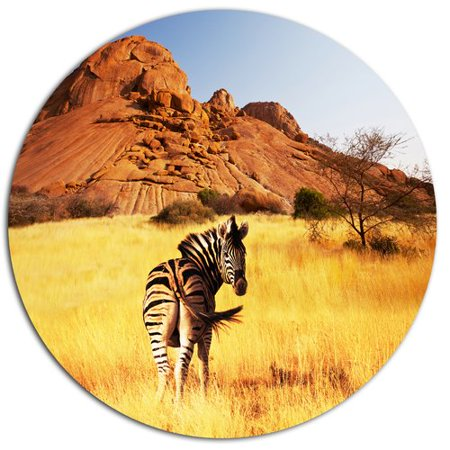 Design Art 'Lonely Zebra in African Prairie' Photographic Print on Metal