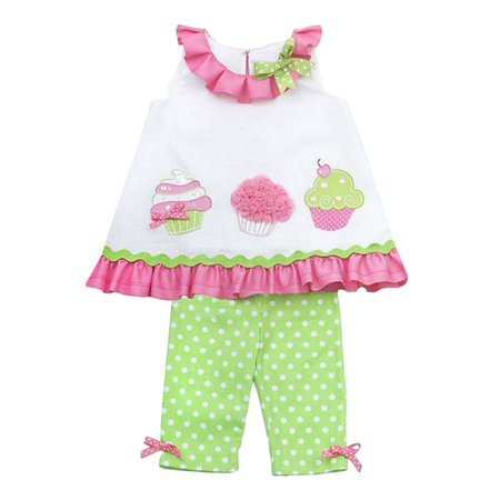 Rare Editions Girls Cupcake Outfit 2 Piece Ruffled Shirt Polka Dot Pants - Cupcake Outfits For Adults