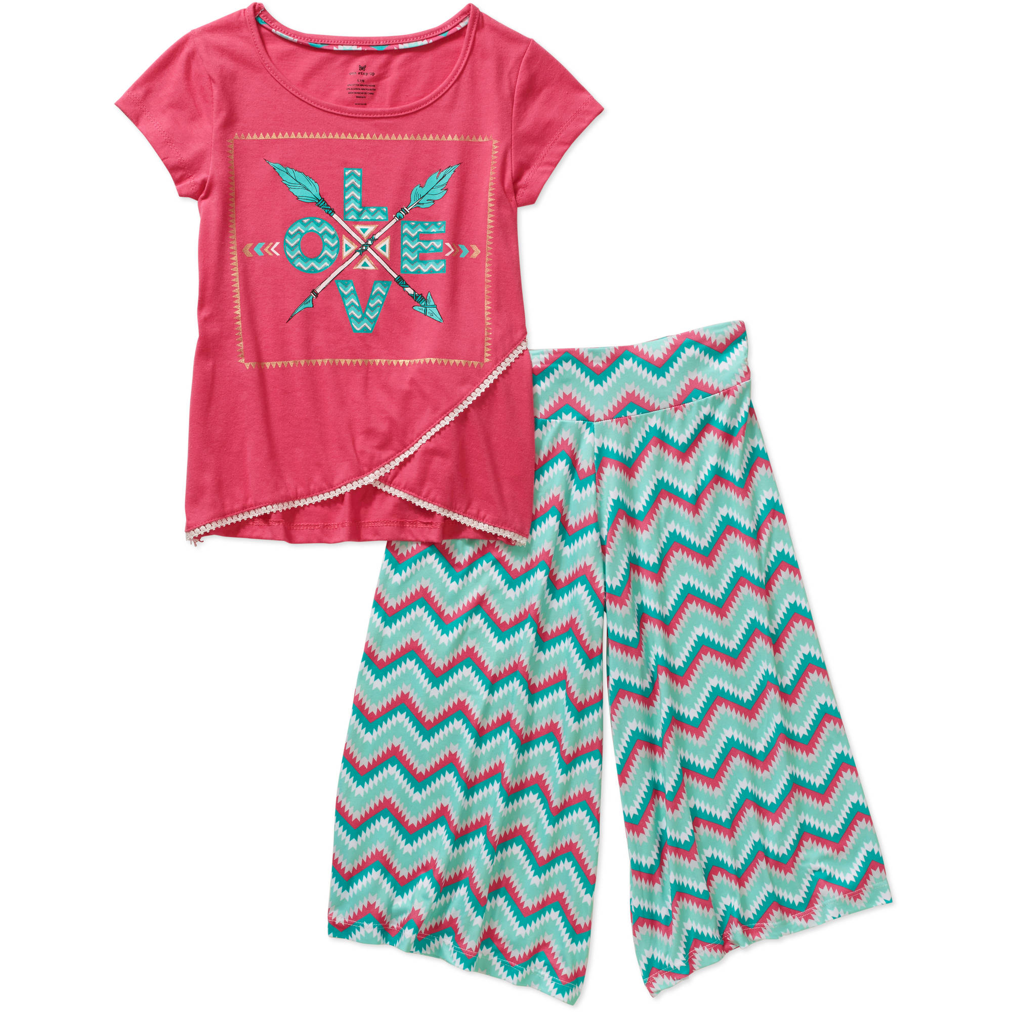 One Step Up Girls Gaucho Libre Printed Knit Crochet Trim Tee & Gaucho Pant Set