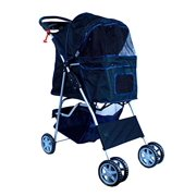New MTN-G Deluxe Folding 4 Wheel Pet Dog Cat Stroller Carrier w Cup Holder Tray - Black