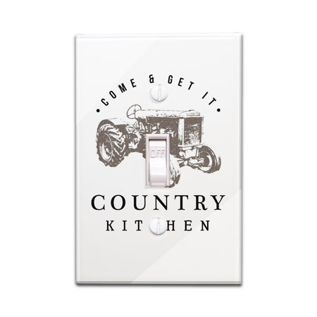 Country Kitchen   Tractor On White   Lantern Press Artwork  Light Switchplate Cover