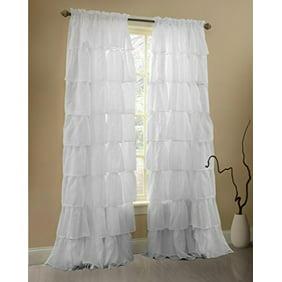 Your Zone Ruffle Girls Bedroom Single Curtain Panel Walmart Com Walmart Com