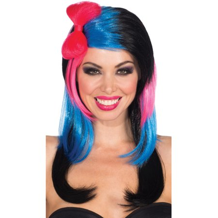 Womens  Vivid Striped Black Pink Blue Baby Girl Bow Costume Punk Wig (Baby Wigs)