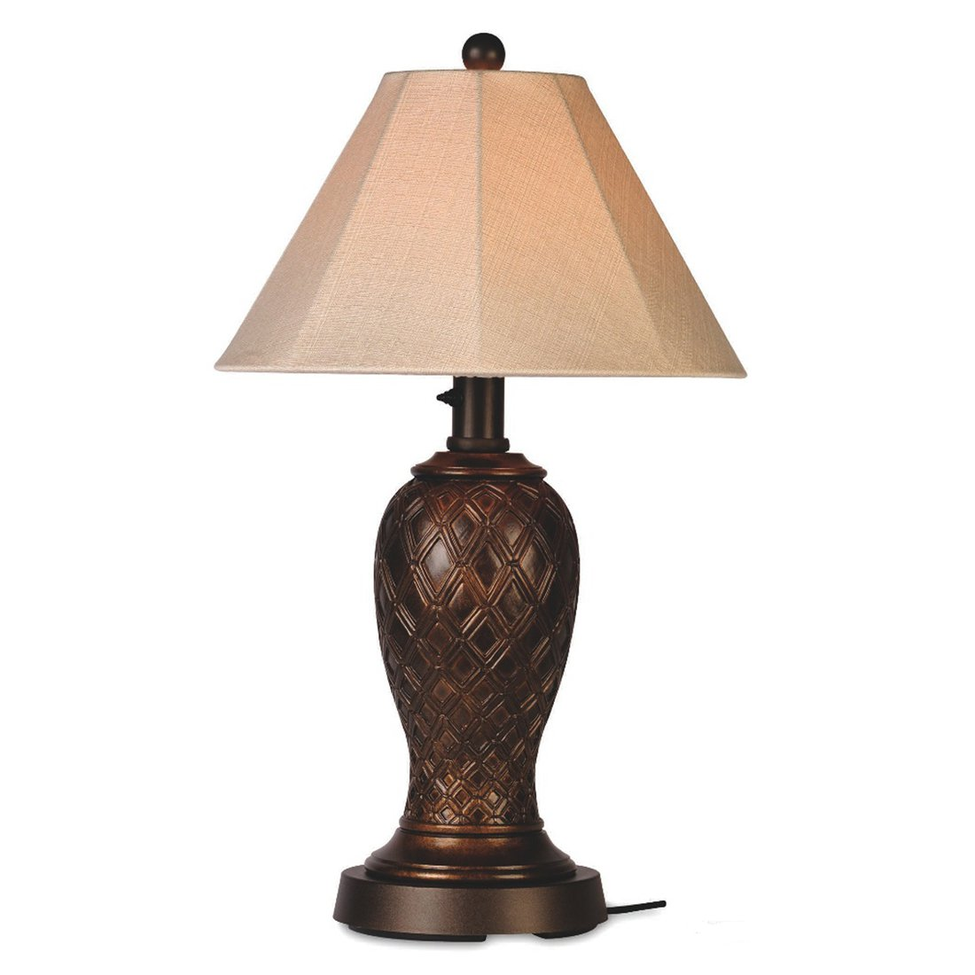 Patio Living Concepts Monterey 34 Inch Outdoor Table Lamp w  Antique Beige Linen Sunbrella Shade by Patio Living Concepts