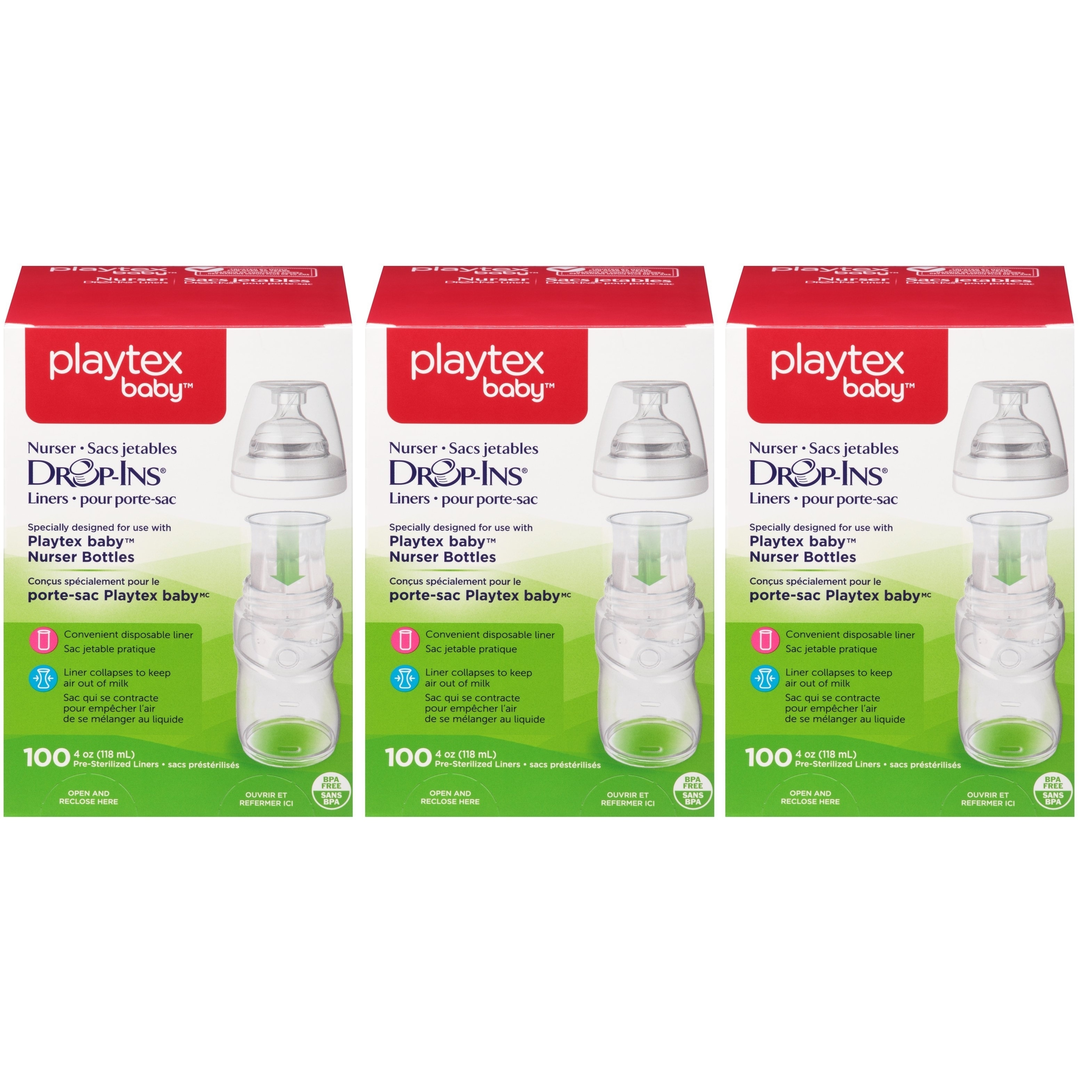 Playtex Baby Drop-Ins Bottle Liners - 4 Ounce - 300 Count
