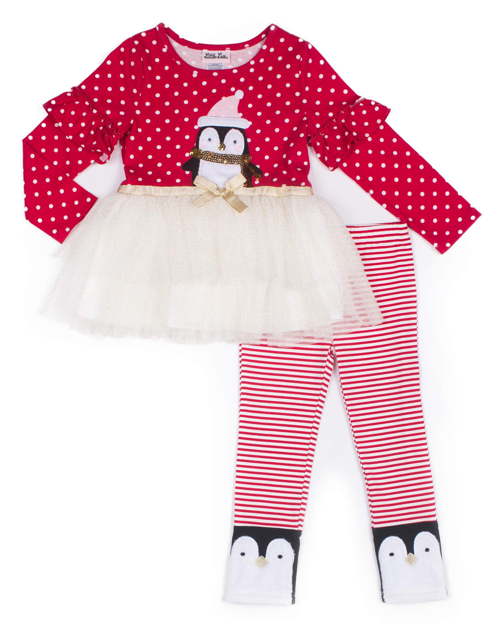 39e864cc1bff8 Little Lass Christmas Long Sleeve Tulle Skirt Tunic Dress & Leggings, 2pc  Outfit Set (
